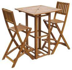 Table bar carrée et 2 tabourets de jardin acacia massif clair Polina