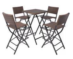 Table bar carrée et 4 chaises de jardin résine tressée marron Klark