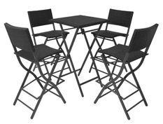 Table bar carrée et 4 chaises de jardin résine tressée noir Klark