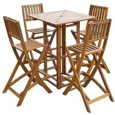 Table bar carrée et 4 tabourets de jardin acacia massif clair Polina