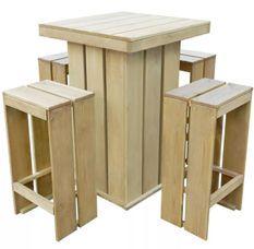 Table bar carrée et 4 tabourets de jardin pin massif clair Stylies