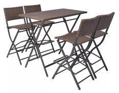 Table bar rectangulaire et 4 chaises de jardin résine tressée marron Klark