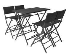 Table bar rectangulaire et 4 chaises de jardin résine tressée noir Klark