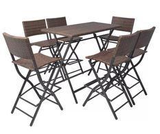 Table bar rectangulaire et 6 chaises de jardin résine tressée marron Klark