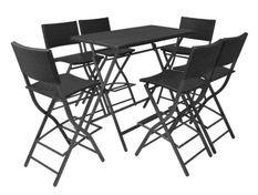 Table bar rectangulaire et 6 chaises de jardin résine tressée noir Klark