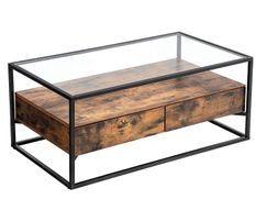 Table basse 2 tiroirs marron vintage style industriel Kaza 106 cm