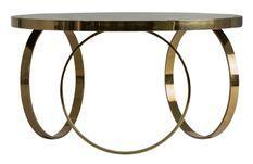 Table basse art déco métal doré et plateau miroir noir Nitia