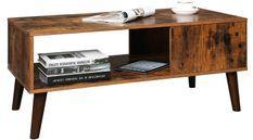 Table basse avec une niche marron vintage style industriel Kaza 100 cm