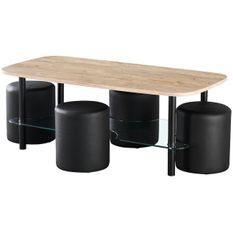 Table basse bois clair et 4 poufs simili cuir noir Malia