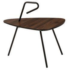 Table basse bois massif foncé et métal noir Cintee 63 cm