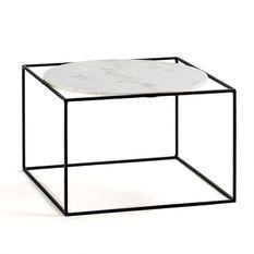 Table basse carrée marbre blanc et métal noir Frie