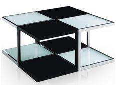 Table basse carrée modulable Noir et Blanc Kiabi