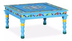 Table basse carrée orientale manguier massif bleu turquoise Pinkie