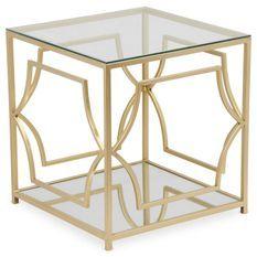 Table basse d'appoint en verre et pieds métal doré Factus