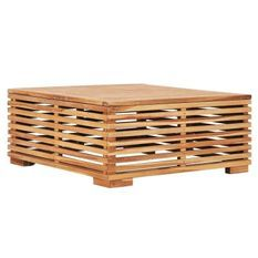 Table basse de jardin palette teck massif clair Lullo