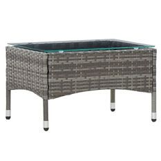 Table basse de jardin verre et résine tressée grise Jaade