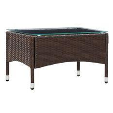 Table basse de jardin verre et résine tressée marron Jaade