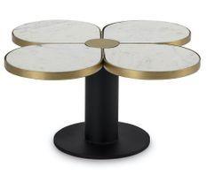 Table basse design trèfle à 4 feuilles marbre et métal doré et noir
