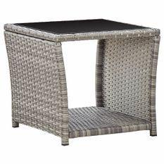 Table basse Gris 45x45x40 cm Résine tressée et verre