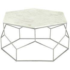 Table basse hexagonale marbre blanc et pieds nickel Raleh