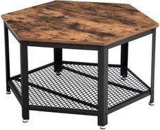 Table basse hexagonale marron vintage et pied metal noir industriel Kaza 75 cm