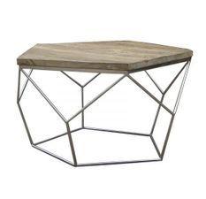 Table basse hexagonale orme recyclé et métal chromé Ponke