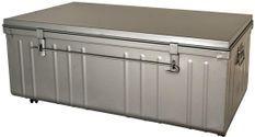 Table basse malle en métal gris alu Terra L 90 x H 37 x P 50 cm