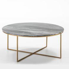 Table basse marbre gris et pieds métal doré D 90 cm