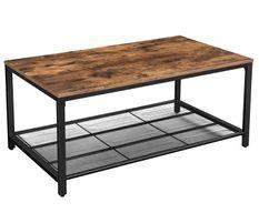 Table basse marron vieilli style industriel Kaza 106 cm