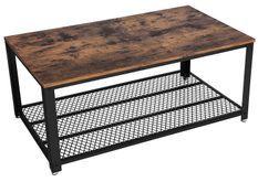 Table basse bois marron vintage style industriel et et plateau en métal treillis Kaza 106 cm