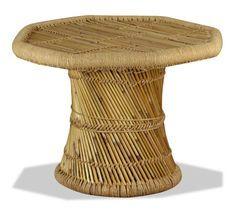 Table basse octogonale bambou et jute clair Kaidi