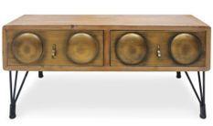 Table basse originale industriel bois et métal bronze Biba