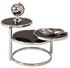 Table basse pivotante verre trempé noir et métal chromé Ariol