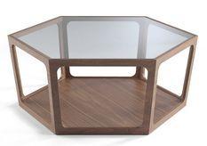 Table basse plateau verre trempé basse et bois noyer Koza