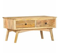 Table basse rectangulaire 2 tiroirs manguier massif clair Catlyn