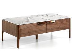 Table basse rectangulaire bois noyer et plateau en marbre céramique blanc Mykal