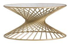 Table basse ronde art déco fer doré Zug 91 cm