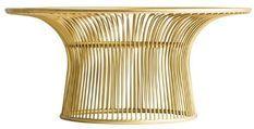 Table basse ronde art déco métal doré et plateau verre Sacha
