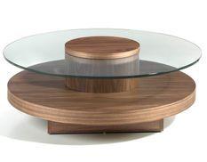 Table basse ronde bois noyer et verre trempé Zoka
