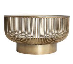 Table basse ronde design fer doré Zug 83 cm