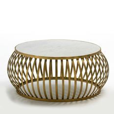 Table basse ronde marbre blanc et métal doré Quieras