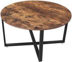 Table basse ronde marron vintage et pied metal noir industriel Kaza 88 cm