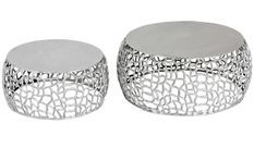 Table basse ronde métal argenté Panas - Lot de 2