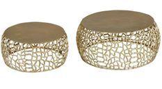 Table basse ronde métal doré Panas - Lot de 2