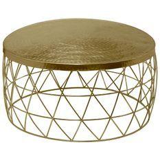 Table basse ronde métal martelé doré Gaelle