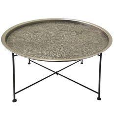 Table basse ronde métal nickel et pieds noir Torado