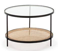 Table basse ronde verre transparent rotin naturel et métal noir