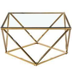 Table basse verre transparent et pieds métal doré Aluna
