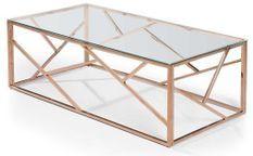 Table basse verre transparent et pieds rose doré Loulou