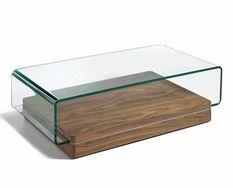 Table basse verre trempé et bois plaqué noyer Lona